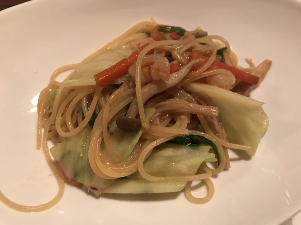 野菜たっぷりペペロンチーノ